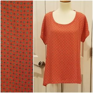 Pleione Orange and Green Pattern Blouse